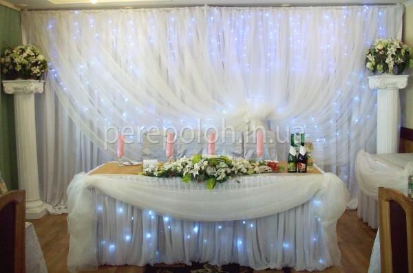 заказать оформление зала тканью, украшение свадебного зала тканью в Одессе, драпировка зала тканью на свадьбу, декор зала для свадьбы тканью, как украсить зал для свадьбы в Одессе